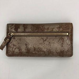 Cole Haan Bifold Snap Wallet Gold Metallic Zip